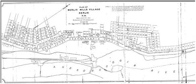 Plan of Berlin Mills Village 1881 (Coos County Registrar of Deed)