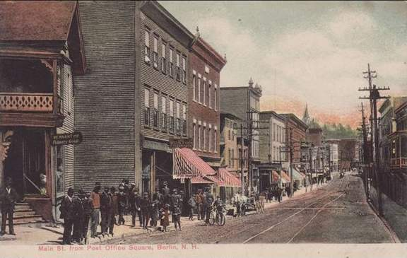 Undated postcard of Main Street from Post Office Square