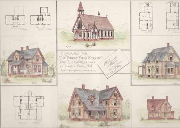 House plans by Fassett/Stevens for Fibreville and the 1st St.Anne's Church