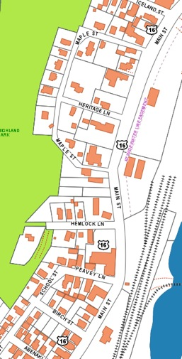 Abenaki Lane (1st Street), Birch Street (2nd Street); Peavey Lane(3rd Street); Hemlock Lane (4th Street); Maple St. ; Heritage Lane (Brown St.) south side of Iceland Street (5th Street) and adjacent parts of Main Street. (Note that Norwegian Village (north side of Iceland Street north to 11th Street) is technically an 1896 addn. to Berlin Mills Village but is discussed as a separate neighborhood.)
