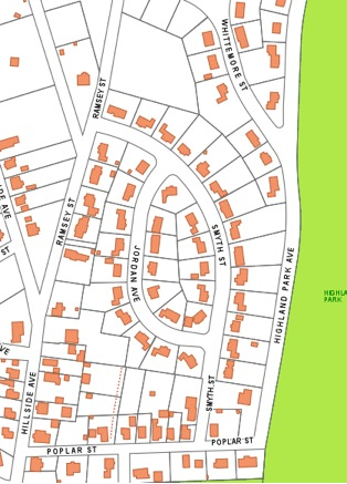 Map overview: Includes Whittemore Street, Smyth Street, Jordan Avenue and Highland Park Avenue