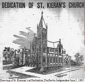 drawing of St. Kiernans at Dedication form The Berlin Independenct June 5, 1895