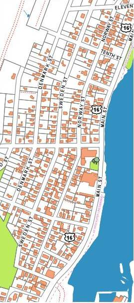 Norway, Sweden, Denmark, Finland, Iceland, Viking, 7th through 11th Streets and adjacent portion of Main Street