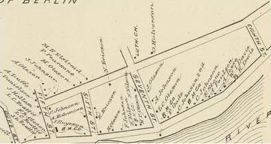 Berlin Mills Village in 1892 - Note the multiple Oleson, Johnson, Ericson, and Halvorson, families all of whom were Scandinavian the Lutheran Church. (Hurd 1892)
